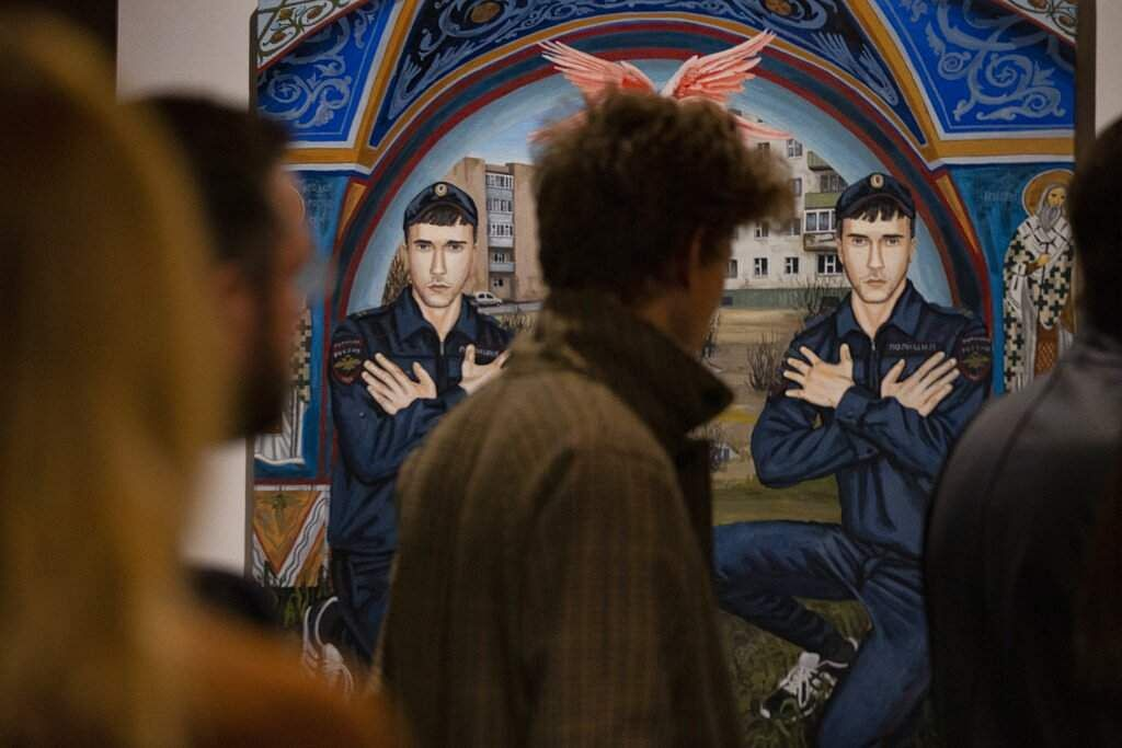Moscow's suburbs are the focus of a new exhibition, which uses contemporary art to explore the hidden facets of life beyond the Russian capital's nucleus. (AP Photo/Alexander Zemlianichenko)