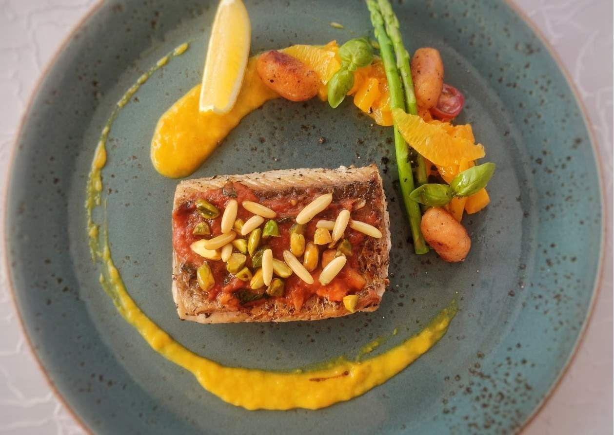 Grilled Sea bass with Pickled Pumpkin Puree, Toasted nuts