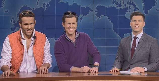 Ryan Reynolds, Alex Moffat and Colin Jost in this week's SNL segment