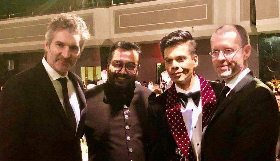 Karan Johar and Anurag Kashyap with David Benioff and D. B Weiss