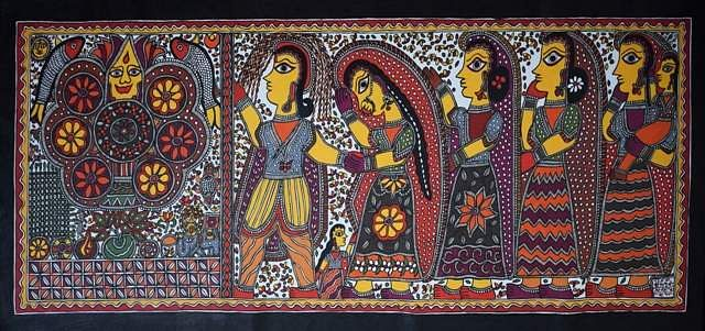 Artist: Baua Devi. Medium: Acrylic on canvas. Size: 61.5''x29' #ArtsoftheEarth #Madhubani