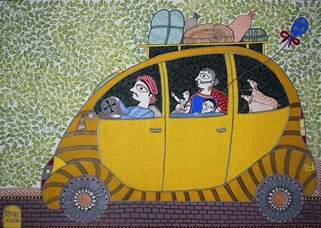 Artist: Avinash Karn. Medium: Acrylic on paper. Size: 19''x27' #ArtsoftheEarth #Madhubani
