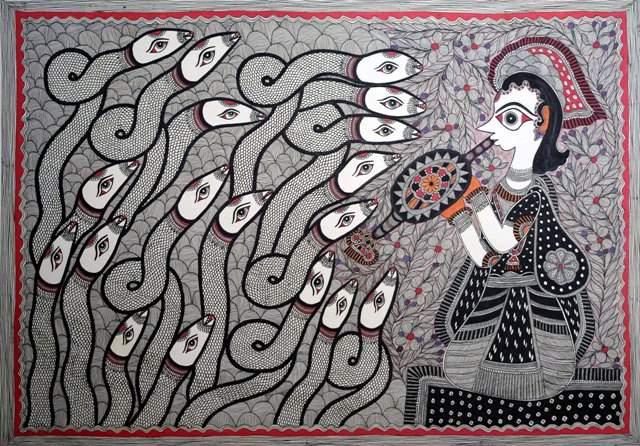 Artist: Nabita Jha. Medium: Acrylic on paper. Size: 28''x20' #ArtsoftheEarth #Madhubani