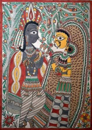 Artist: Unknown. Medium: Acrylic on paper. Size: 28.5''x21' #ArtsoftheEarth #Madhubani