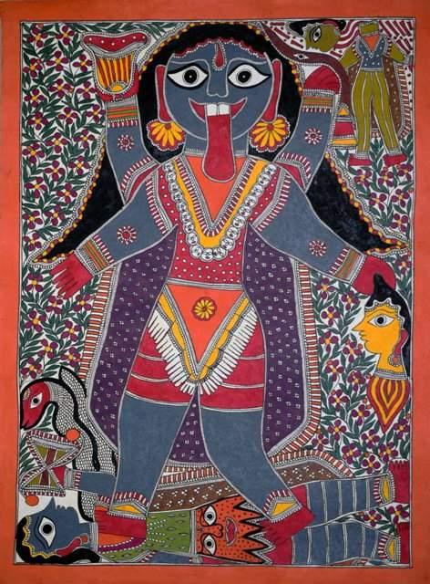 Artist: Unknown. Medium: Acrylic on paper. Size: 30''x22' #ArtsoftheEarth #Madhubani