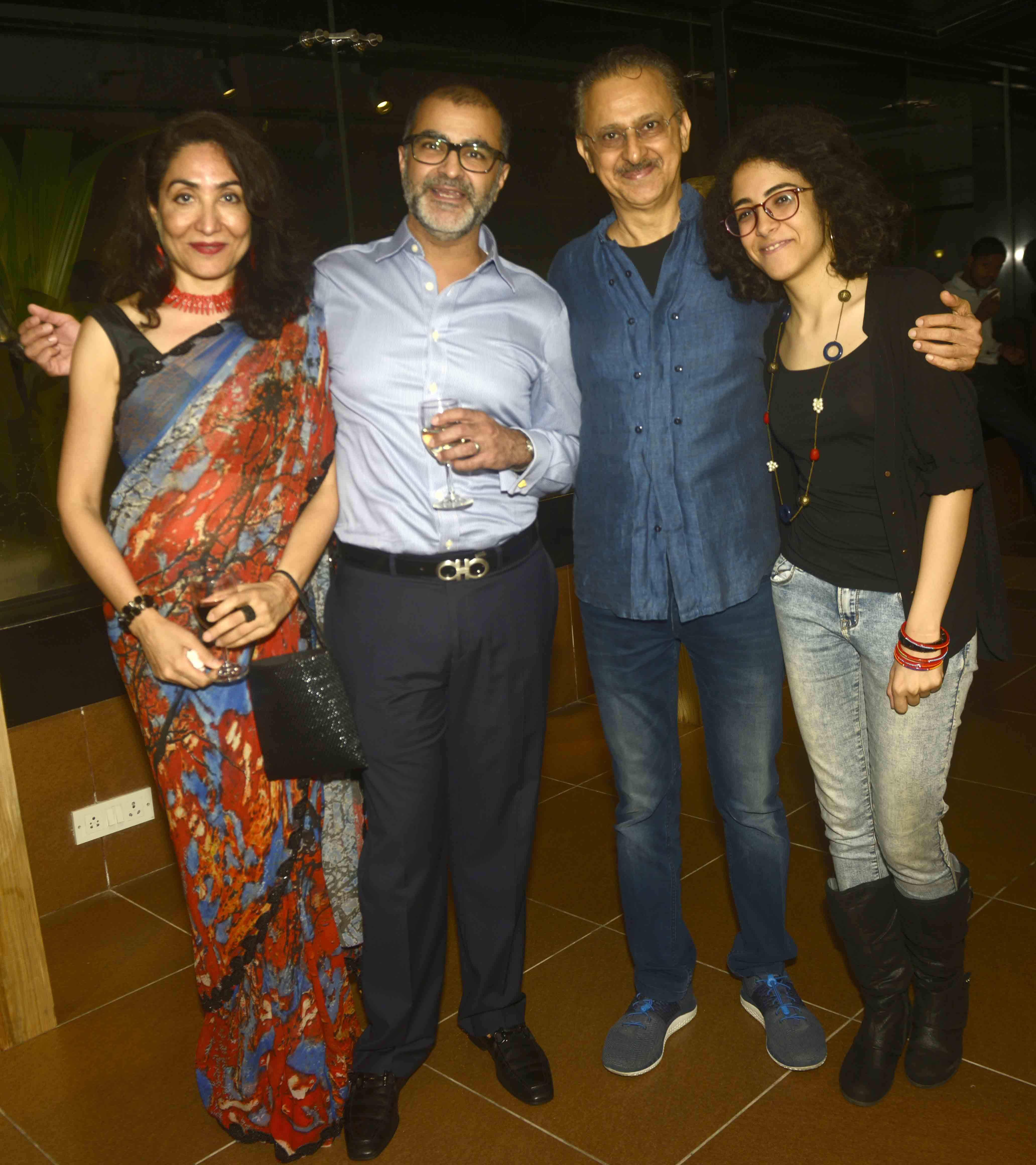 Raj with Asad Lalljee and Seema Mehrotra. A scene from the opening evening of Caesura/Continuum, solo show by Raj Shahani at Jehangir Art Gallery, Mumbai.