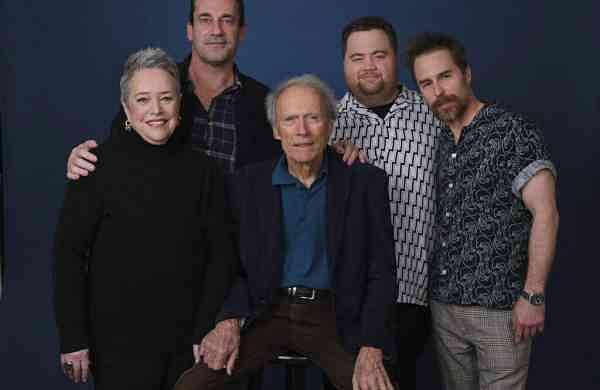 Clint Eastwood, Kathy Bates, Jon Hamm, Paul Walter Hauser and Sam Rockwell (AP Photo/Chris Pizzello)