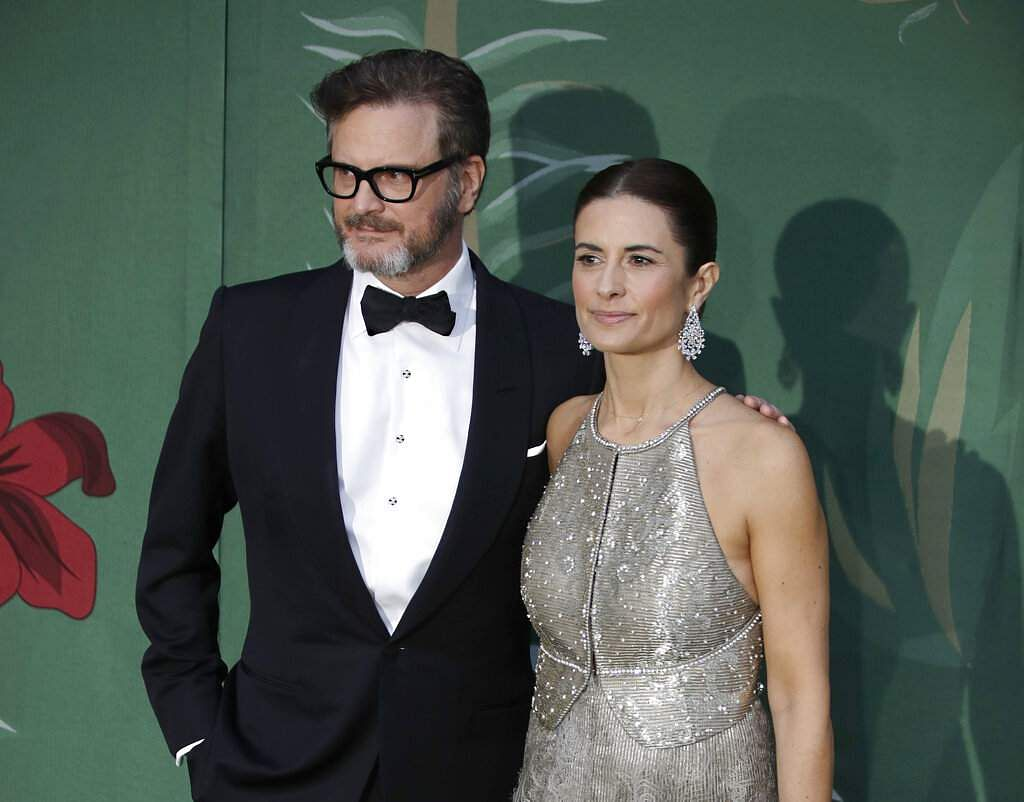 Colin Firth and his wife Livia (AP Photo/Luca Bruno)