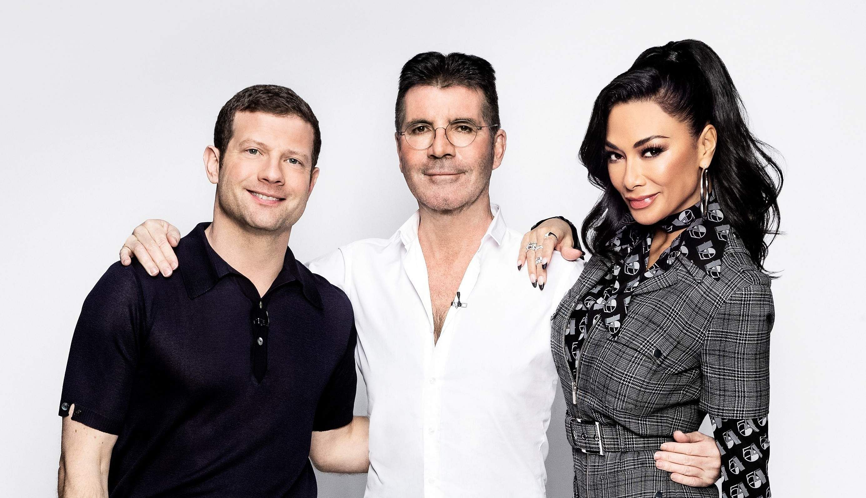 Dermot O'Leary with Simon Cowell and Nicole Scherzinger