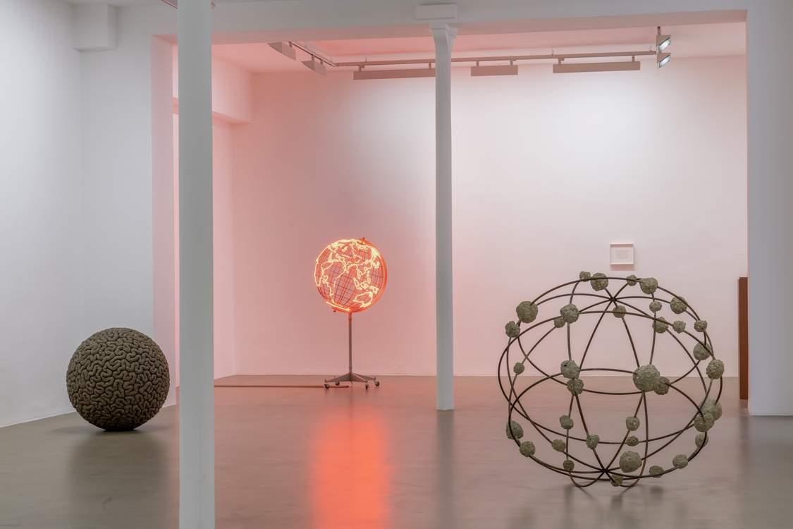 Exhibition view: Mona Hatoum, courtesy Galerie Chantal Crousel, Paris. Mona's art reflects on world conflicts, migrations and surveillance. Photo: Florian Kleinefenn.