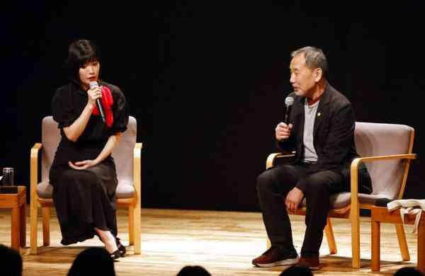 Haruki Murakami and author Mieko Kawakami in Tokyo (Shinchosa via AP)