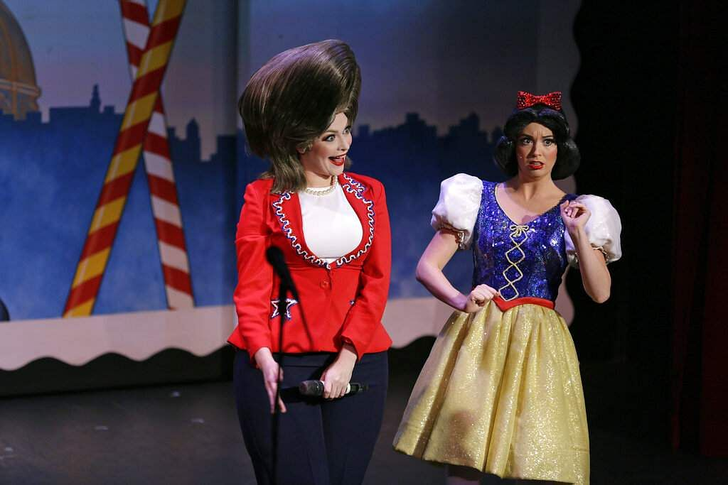 Hillary Clinton and Snow White are portrayed by Jennifer Morrison and Ruby Day (AP Photo/Eric Risberg)