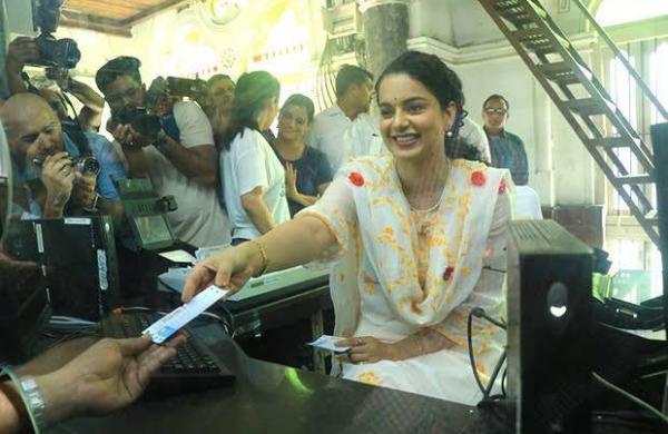 Kangana Ranaut turns rail ticket seller at Mumbai station to promote upcoming film Panga