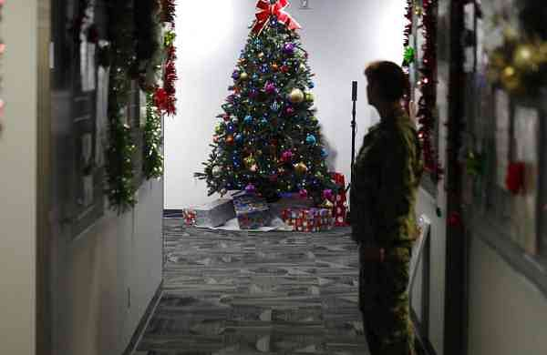 At NORAD Tracks Santa Center, Peterson Air Force Base (AP Photo/David Zalubowski)