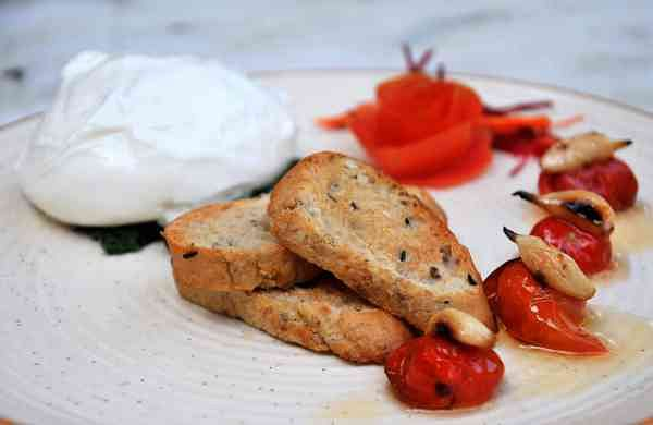 Burrata with Roasted Cherry Tomato and Garlic