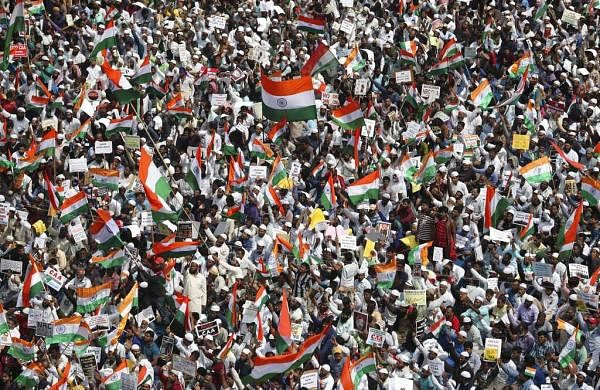 A protest organised against a new citizenship law that opponents say threatens India's secular identity in Bengaluru. (AP Photo/Aijaz Rahi)