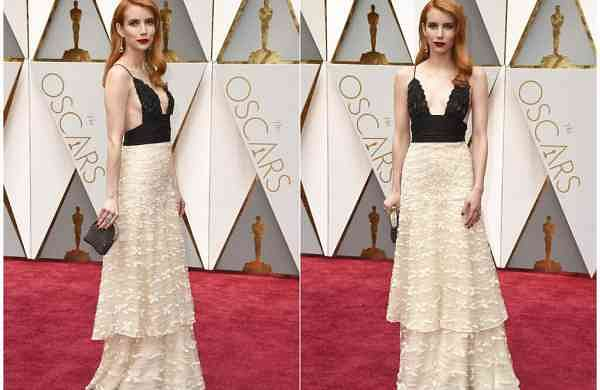 Emma Roberts wears vintage Armani Prive at the Oscars in LA (Photos by Jordan Strauss/Invision/AP)