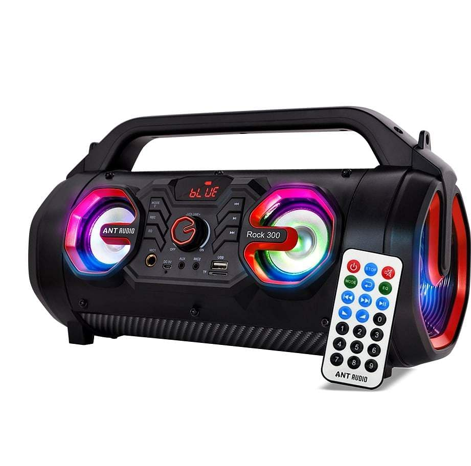 Ant Audio Rock 300: Blast of a BT Party speaker with appealing looks, easy-to-carry design. 4-inch subwoofer and two 2.5 inch tweeters for a sonic blast. Karaoke with recording, FM radio. INR 3,199.
