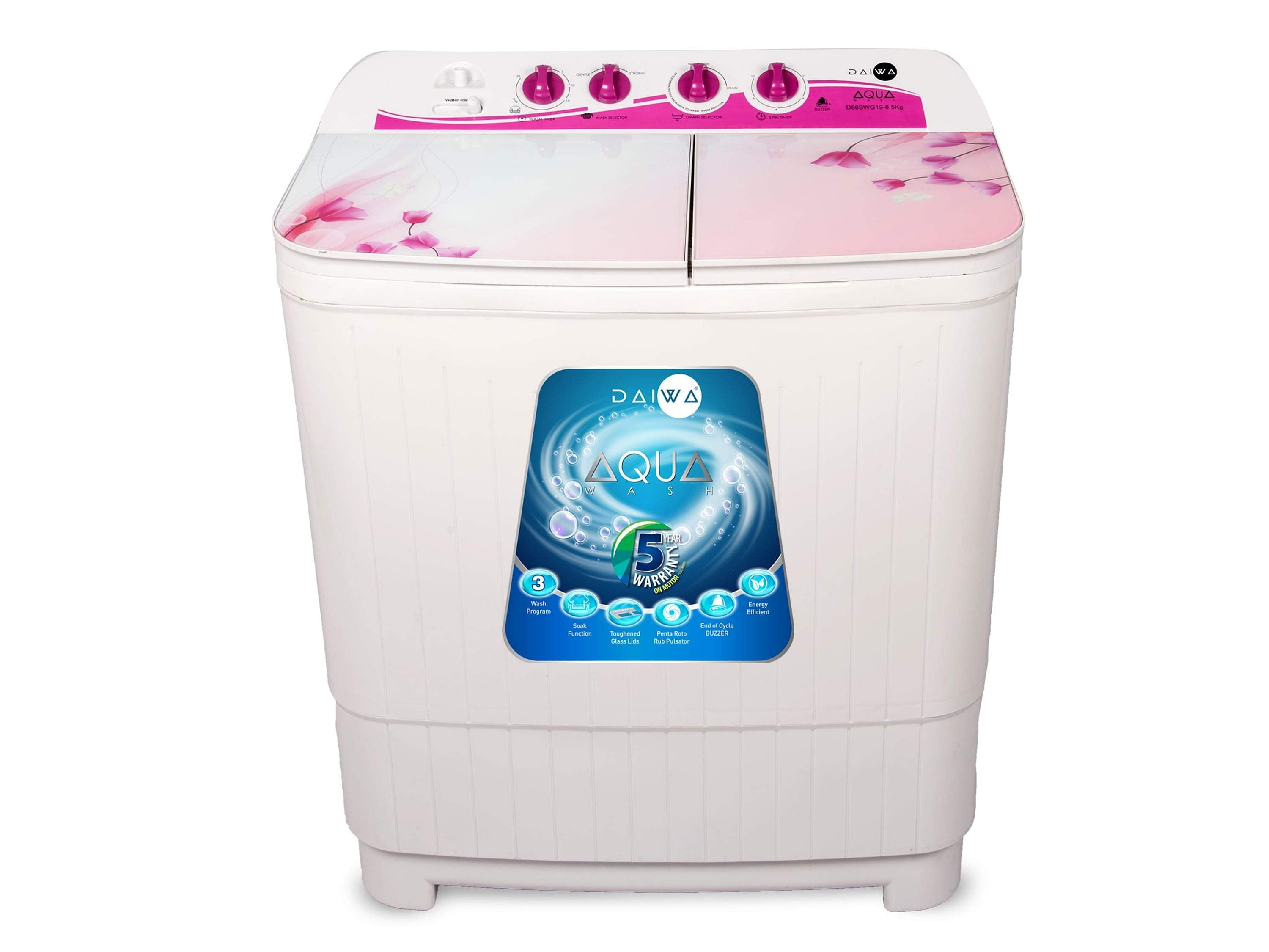Daiwa Washing Machine: This new range comes with Toughened glass and is semi-automatic. Smart wash programs and durable Motor, comes with large tub and is moisture/rust-proof. INR 9,490.
