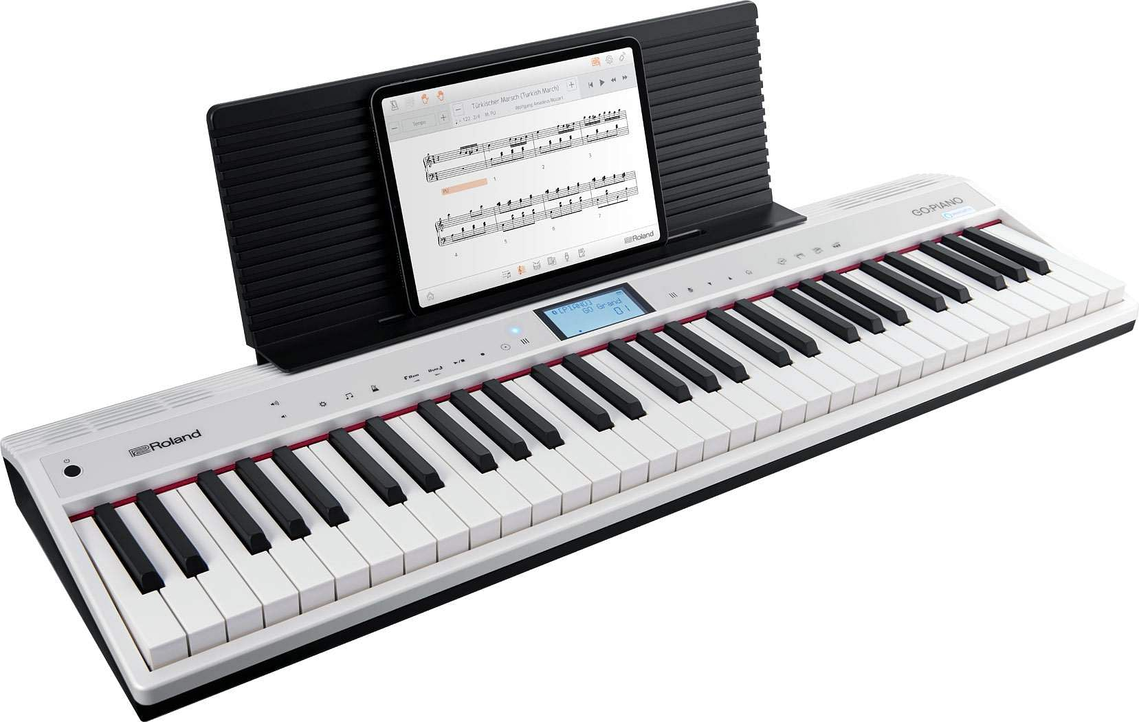Roland GO:PIANO: Alexa built-in aids playing, learning. Roland's Piano sound engine ensures great reproduction and onboard control with voice. Alexa takes care of recording and uploading. INR 36,000.