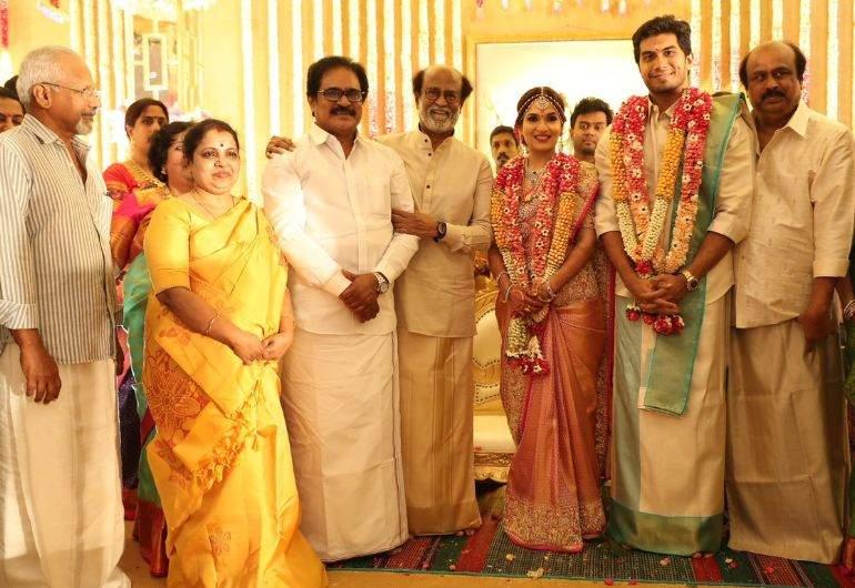 Mani Ratnam at Rajinikanth's daughter Soundarya's marriage ceremony with Vishagan Vanangamudi in Chennai on Monday.