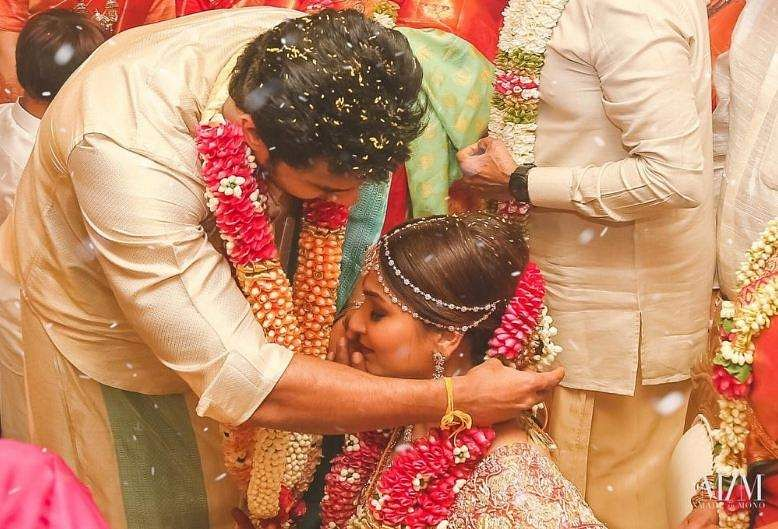 Vishagan and Soundarya share an intimate moment at their wedding ceremony in Chennai on Monday