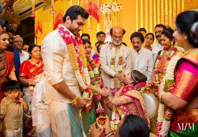 Vishagan puts the garland around Soundarya's neck at their ceremony in Chennai on Monday.