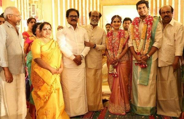 Mani Ratnam at Rajinikanth's daughter Soundarya's marriage ceremony with Vishagan Vanangamudi in Chennai on Monday.