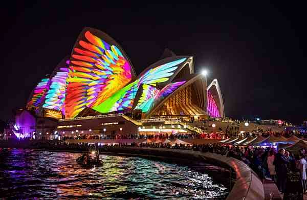 Lighting of the Sails, Metamathemagical Sydney Opera House. Credit Daniel Boud