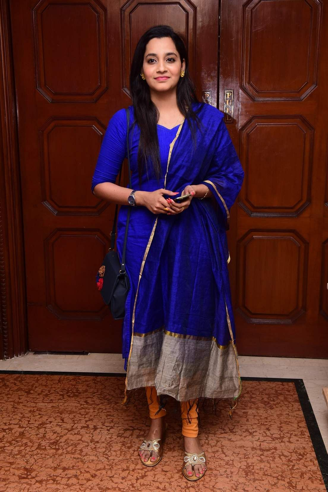 Abarnathi at the launch event of Karthik Srinivasan's calendar, Entwined