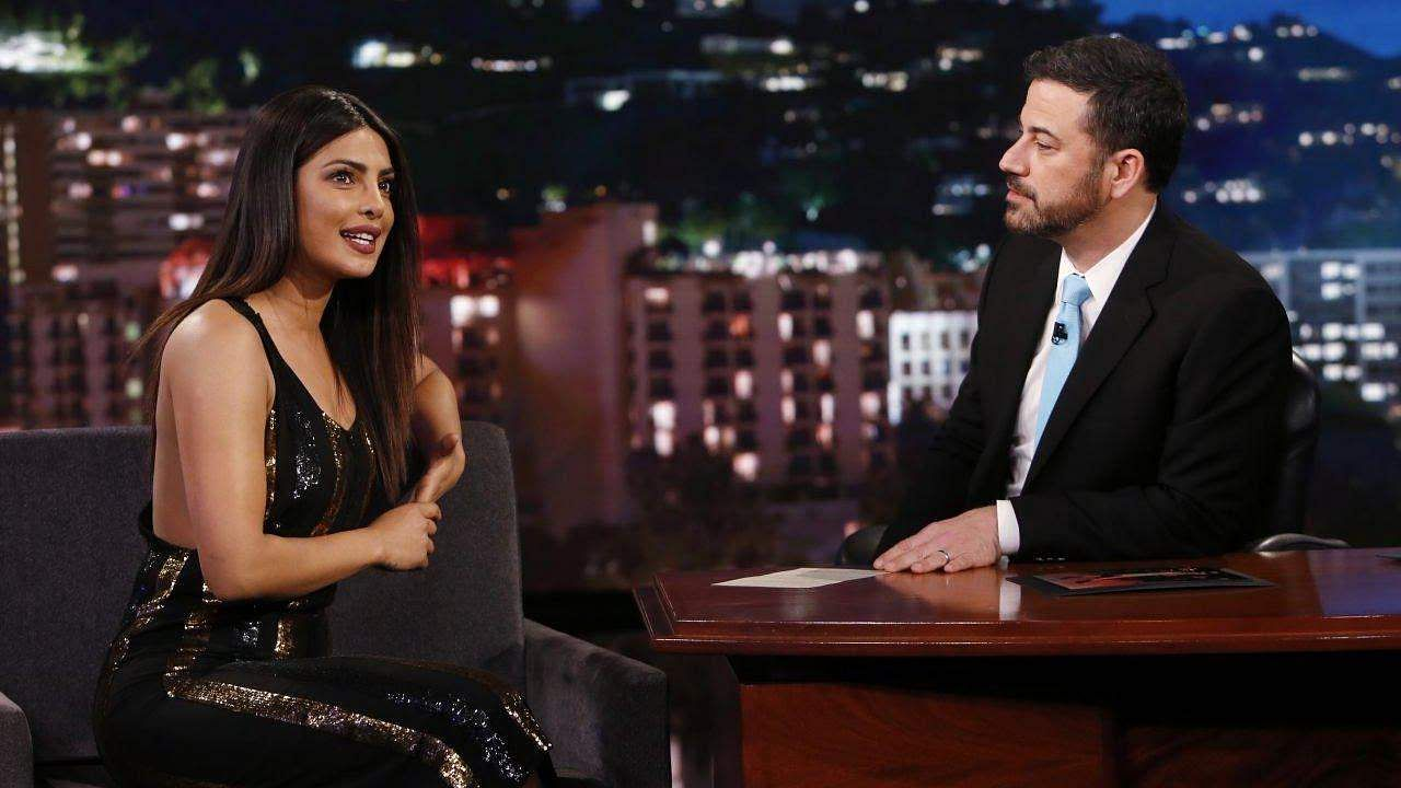 Priyanka Chopra with Jimmy Kimmel on his show