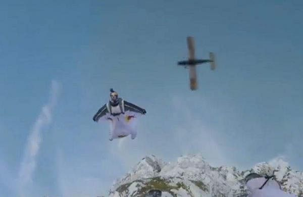 Skydiving into a plane