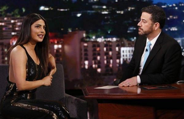 Priyanka Chopra with Jimmy Kimmel on his show