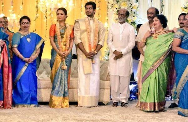 Soundarya Rajinikanth and Vishagan Vanangamudi at their reception in Chennai