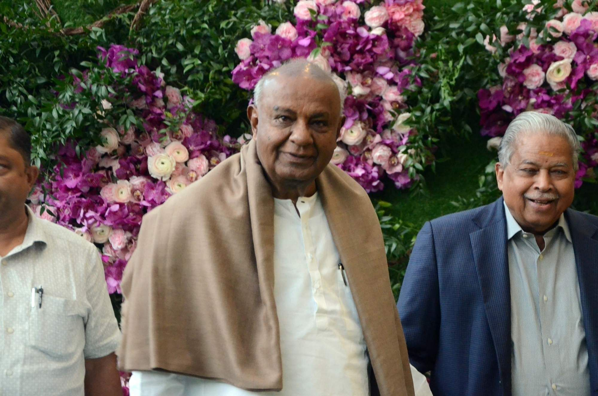 JD(S) supremo HD Deve Gowda at the wedding festivities of Akash Ambani and Shloka Mehta in Mumbai on March 9, 2019. (Photo: IANS)