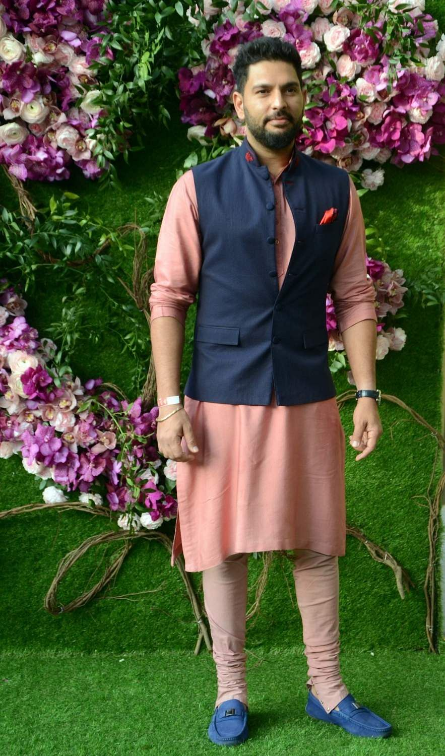 Cricketer Yuvraj Singh at Akash and Shloka's wedding. (Photo: IANS)