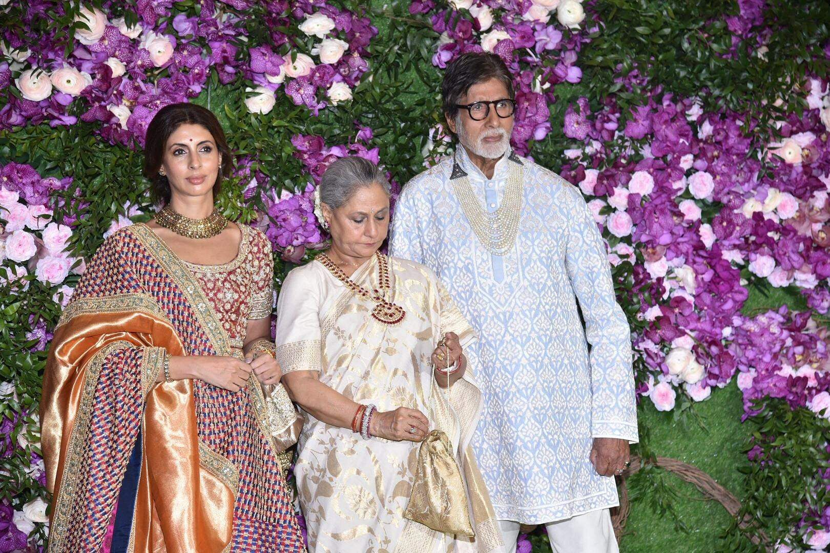Actors Amitabh Bachchan and Jaya Bachchan with their daughter Shweta Bachchan-Nanda at the wedding festivities of Akash Ambani and Shloka Mehta in Mumbai on March 9, 2019. (Photo: IANS)