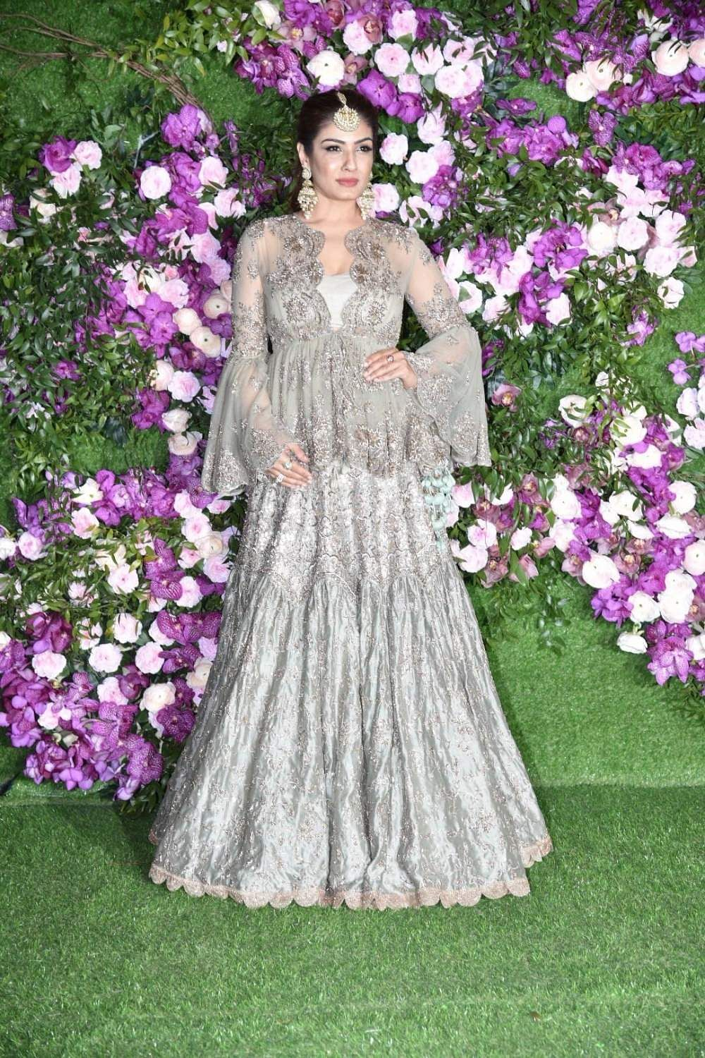 Actress Raveena Tandon at the wedding festivities of Akash Ambani and Shloka Mehta in Mumbai on March 9, 2019. (Photo: IANS)