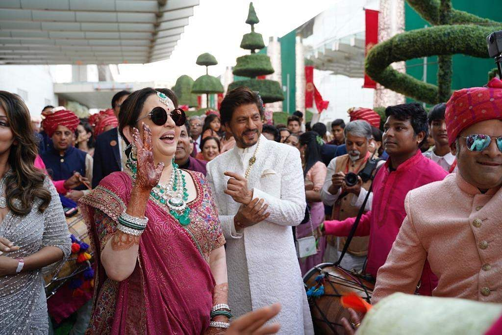Actor Shah Rukh Khan and Nita Ambani at the wedding festivities of Akash Ambani and Shloka Mehta in Mumbai on March 9, 2019. (Photo: IANS)