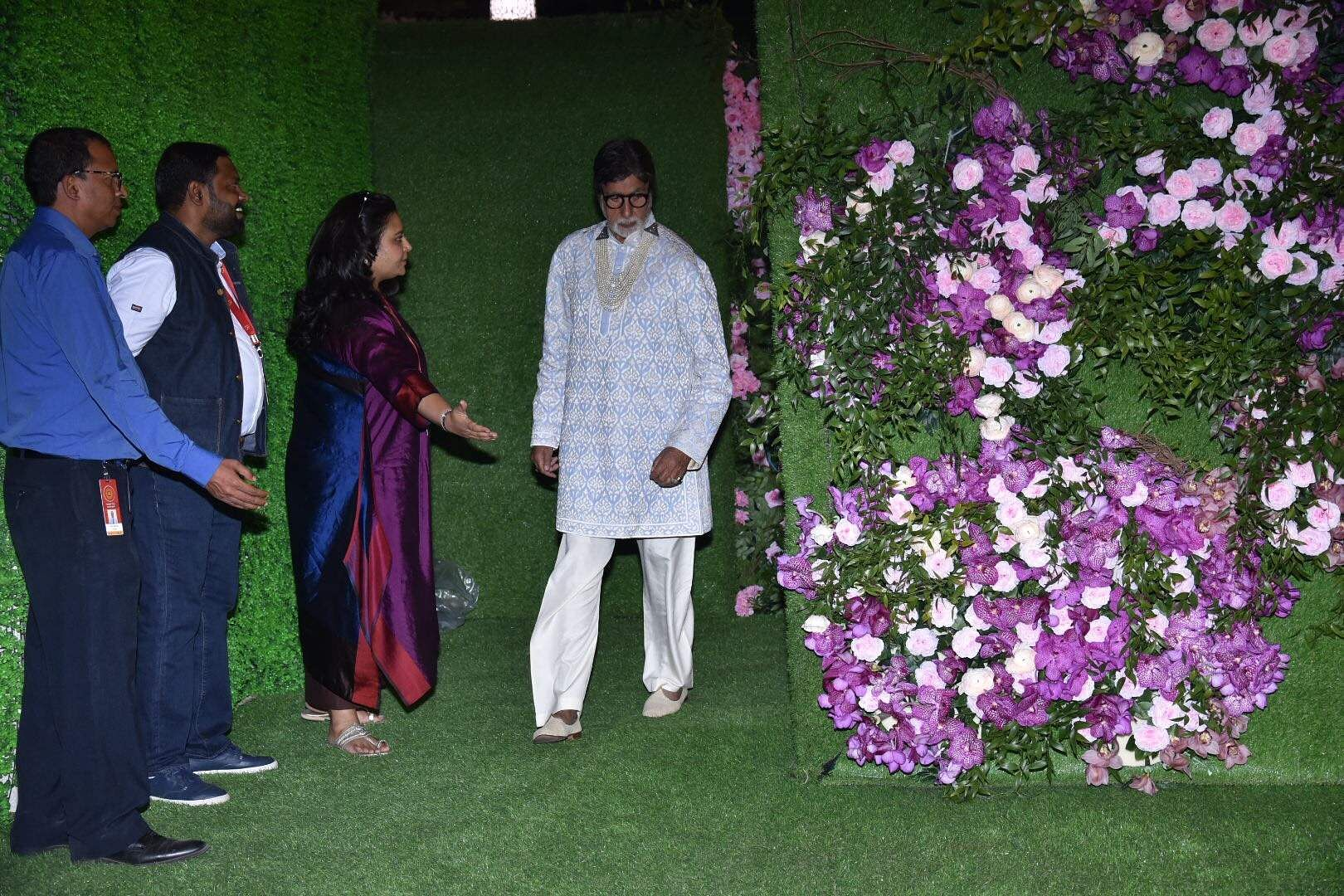 Amitabh Bachchan arrives at the wedding festivities of Akash Ambani and Shloka Mehta in Mumbai on March 9, 2019. (Photo: IANS)