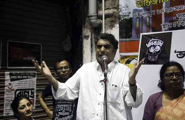 Anik Dutta addresses a demonstration in Kolkata (Photo: IANS)