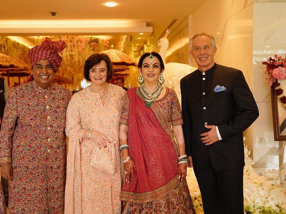 The Ambanis with former British PM Tony Blair and his wife Cherie Blair