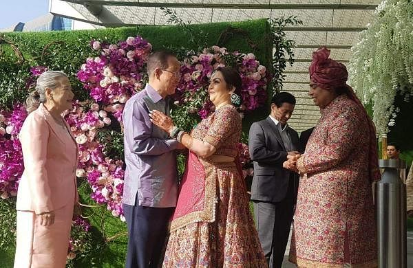 The Ambanis welcoming former UN Secretary General Ban Ki Moon and his wife