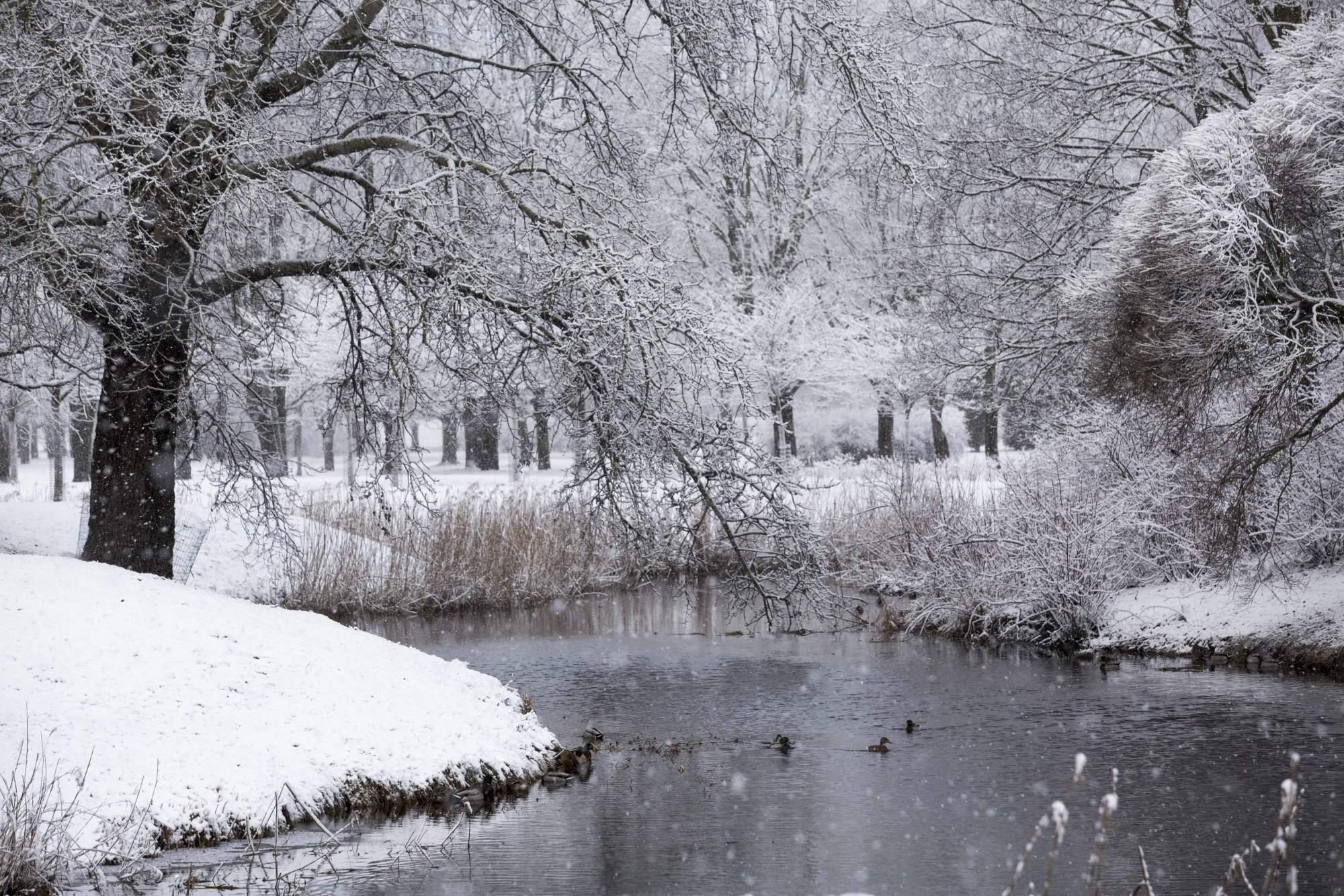 RIGA, March 11, 2019 (Xinhua) -- Photo taken on March 11, 2019 shows the winter scenery in Riga, Latvia. (Xinhua/Edijs Palens/IANS)