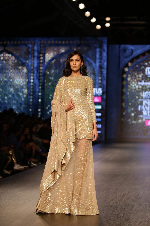New Delhi: A model walks the ramp showcasing the creations of fashion designer Rabani and Rakha on third day of Lotus India Fashion Week in New Delhi, on March 15, 2019. (Photo: Amlan Paliwal/IANS)