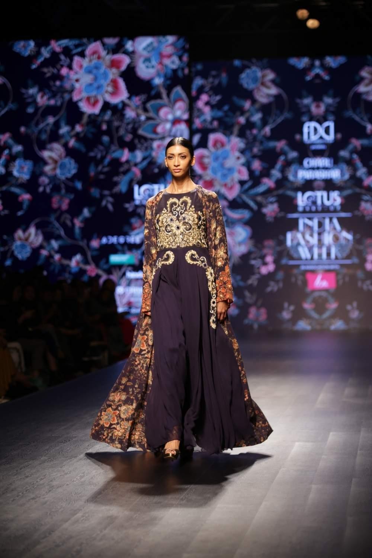 New Delhi: A model walks the ramp showcasing fashion designer Charu Parashar's creations on the third day of Lotus India Fashion Week in New Delhi, on March 15, 2019. (Photo: Amlan Paliwal/ IANS)