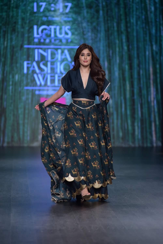 New Delhi: Actress Kritika Kamra showcases a creation of fashion designer Simmi Saboo on the third day of Lotus India Fashion Week in New Delhi, on March 15, 2019. (Photo: Amlan Paliwal/ IANS)