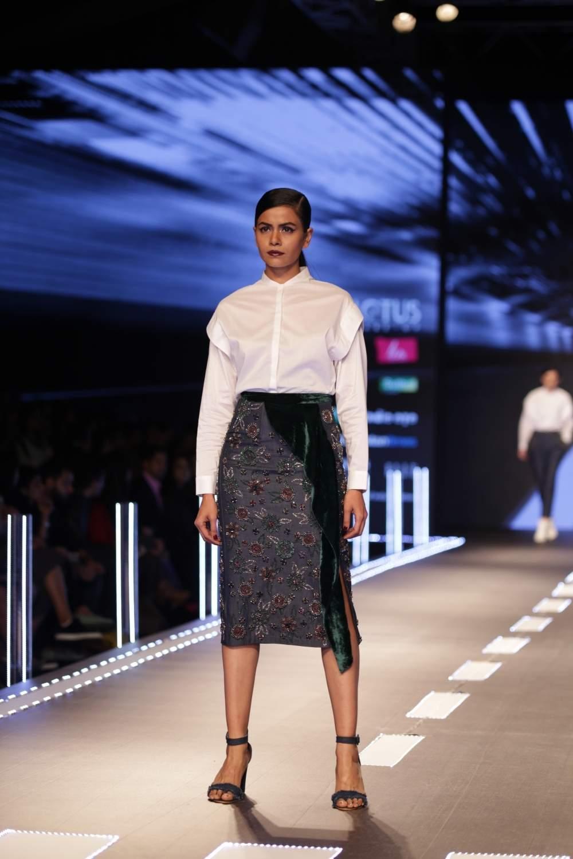New Delhi: A model showcases a creation of fashion designer Namrata Joshipura on the third day of Lotus India Fashion Week in New Delhi, on March 15, 2019. (Photo: Amlan Paliwal/ IANS)