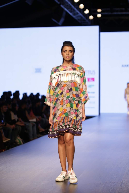 New Delhi: A model walks the ramp showcasing the creations of fashion designer Aartivijay Gupta on third day of Lotus India Fashion Week in New Delhi, on March 15, 2019. (Photo: Amlan Paliwal/IANS)