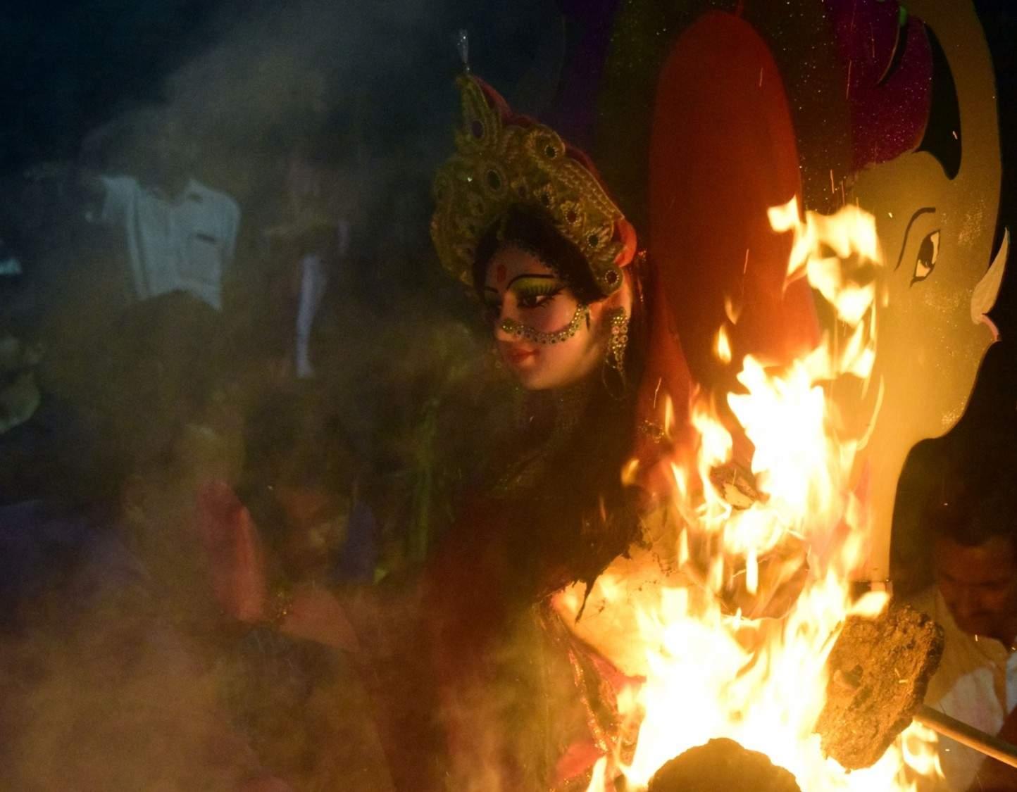 Amritsar: Holika Dahan, burning of holy pyres, underway on the eve of Holi in Mathura on March 20, 2019. (Photo: IANS)